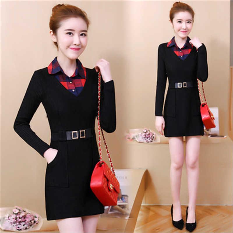 新しい秋と冬の女性ドレスMS格子ファッションレンダリングドレス女性の偽二枚セット保つ暖かい毛深いドレスf184