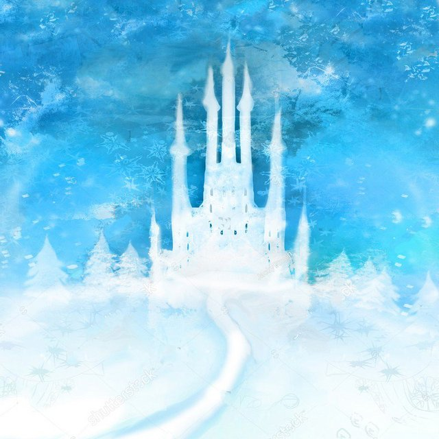 Winter Frozen Mountain Hogwarts Castle Tree Background