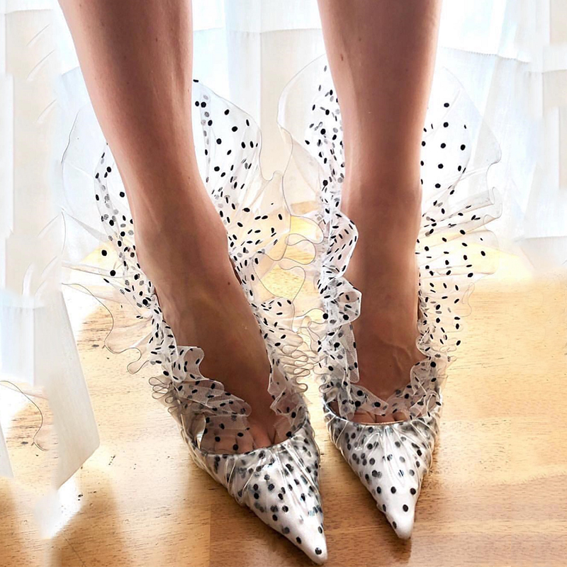 Sexy Ladies Dot Stage Catwalk High Heels Pointy Toe Lace Floral Real Leather Shoes S160