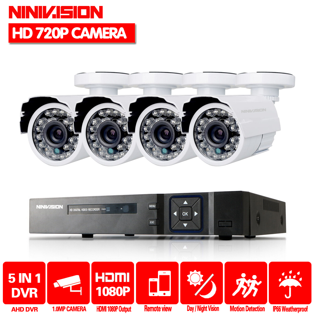 NINIVISION CCTV System 4 Channel 1080n 4CH CCTV Outdoor System 1080P HDMI DVR Kit with 4PCS White Bullet Home Security CameraNINIVISION CCTV System 4 Channel 1080n 4CH CCTV Outdoor System 1080P HDMI DVR Kit with 4PCS White Bullet Home Security Camera