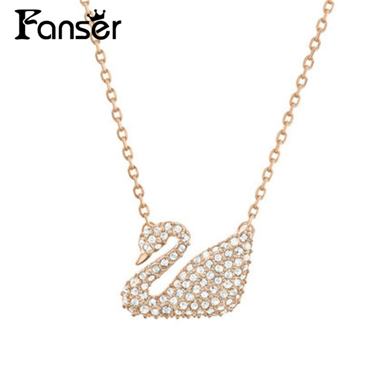 FANSER swan series Necklace Swarov Official 1:1 Has The Logo Ladys Fine Jewellery Free Mail Rose gold Link chain Fashion