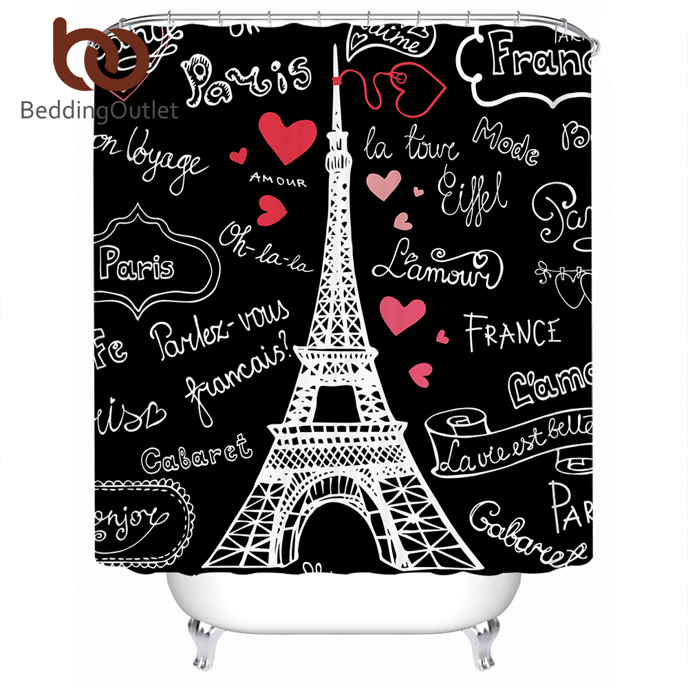 BeddingOutlet Paris Tower Shower Curtain Waterproof Letters Romantic Decorative For Bathroom With Hooks 150x180 Banheiro
