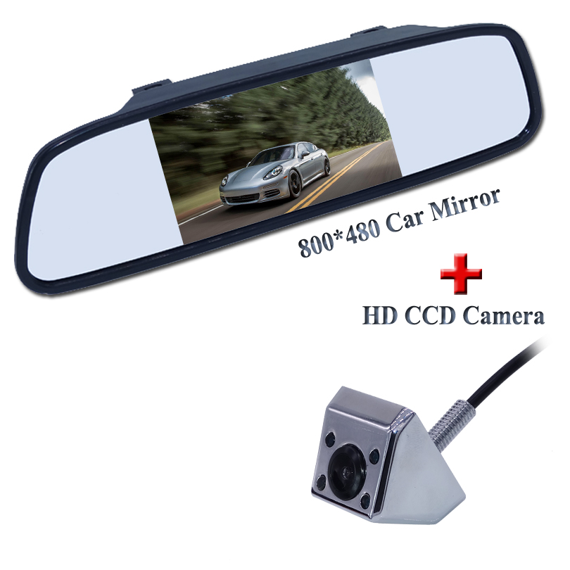 Voiture HD Vidéo Auto Parking Moniteur, IR de Vision Nocturne de Recul CCD Vue Arrière de Voiture Caméra Avec 4.3 pouce De Voiture Rétroviseur Moniteur