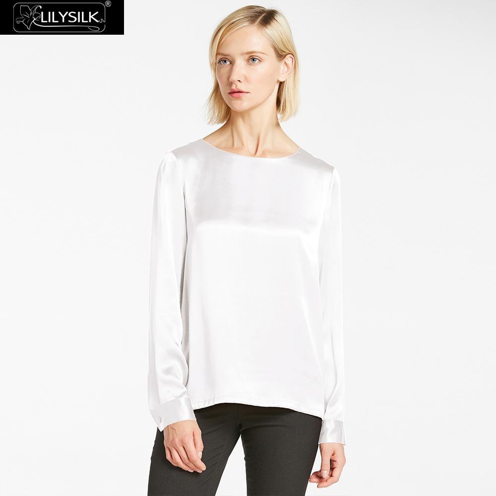 LilySilk เสื้อผู้หญิง 22 momme Silk รอบคอสำหรับสตรีฤดูร้อนสุภาพสตรีจัดส่งฟรี-ใน เสื้อสตรีและเสื้อเชิ้ต จาก เสื้อผ้าสตรี บน   1