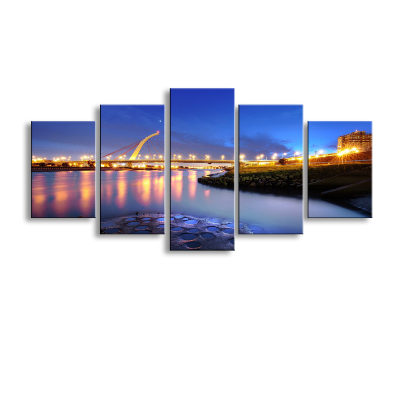 5 pieces high-definition print bridge city Lights canvas oil painting poster and wall art living room picture PL5-220