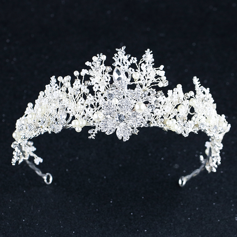Silver Crystal Flower Crown For Bride Luxury Barque Crown Wedding Hair Accessories Brides Tiara Wedding Headband HeaddressSilver Crystal Flower Crown For Bride Luxury Barque Crown Wedding Hair Accessories Brides Tiara Wedding Headband Headdress