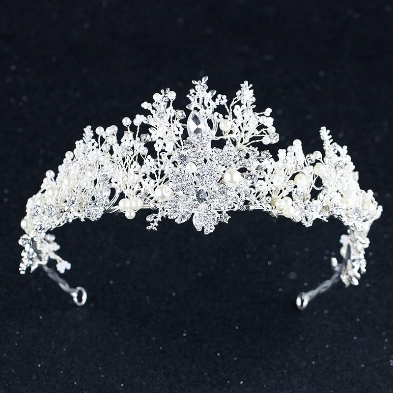 Silver Crystal Flower Crown For Bride Luxury Barque Crown Wedding Hair Accessories Bride's Tiara Wedding Headband Headdress цена 2017
