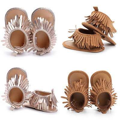 0-12M New Baby Boys Girls Summer Leather Sandals Fringe Khaki and Gold Flat With Shoes Toddler Infants