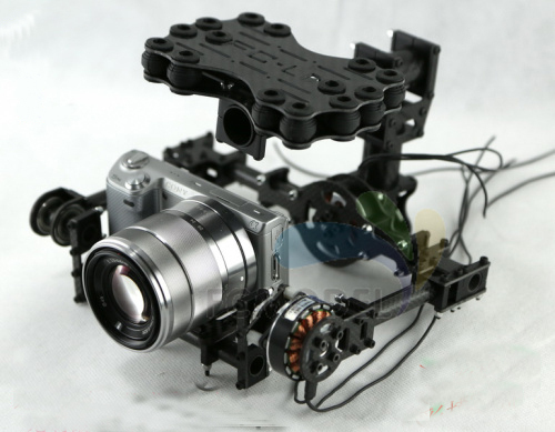 StormEye Dual-Axis FPV Brushless Camera Gimbal Aerial Photography w/ Shock-Absorbing Plate for Mini DSLR Camera