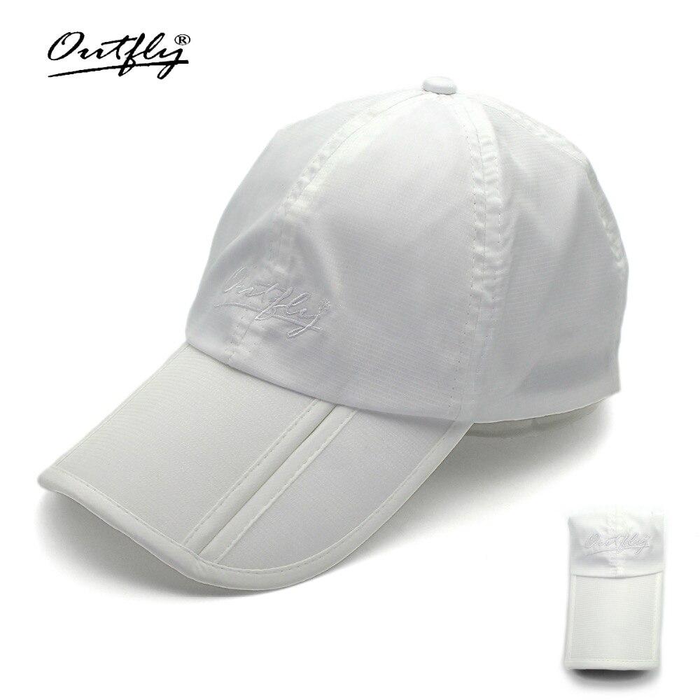 Outfly plegable sol sombrero de visera al aire libre plegable de secado  rápido gorra de marca de pesca sombrero de los hombres de deportes pato  tapa en ... 4889b7d707d