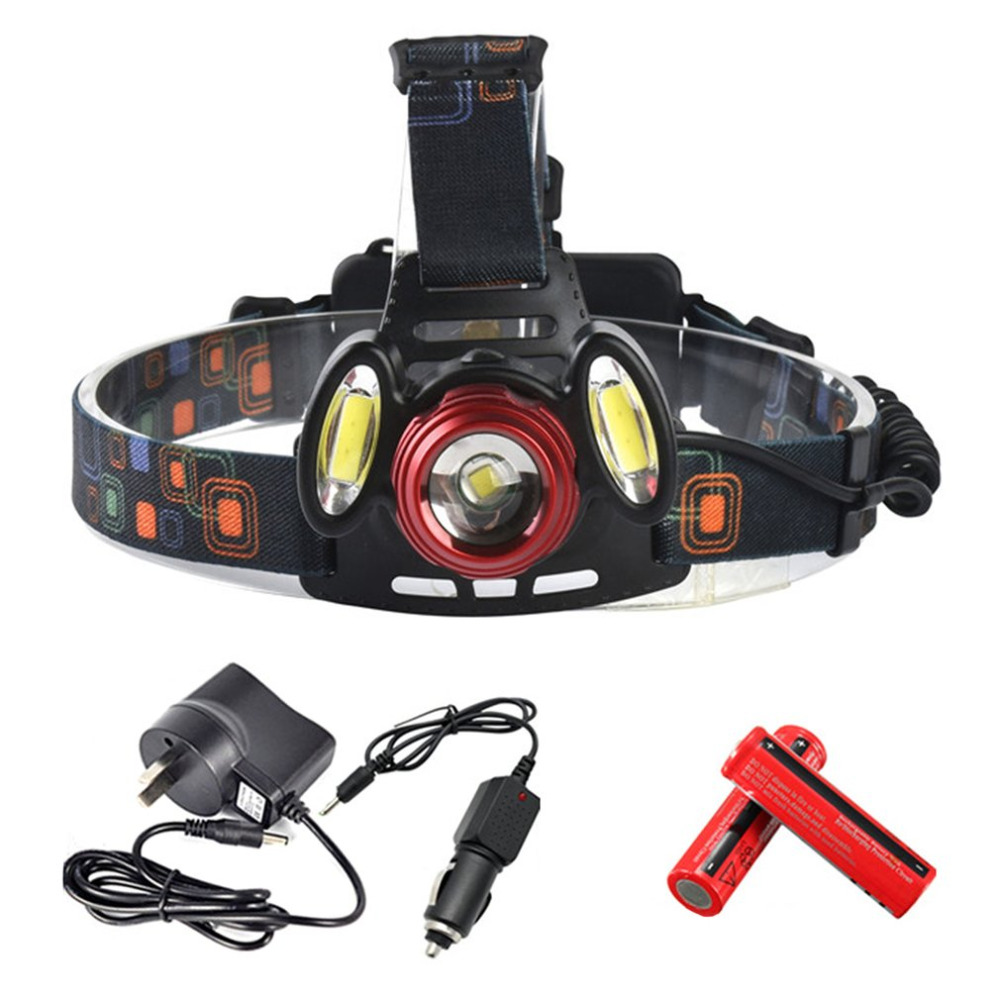 5000LM LED Headlight Zoomable Flashlight Torch T6+cob Headlamp Rechargeable Head Light Lamp 2305 For Fishing Hunting Hiking