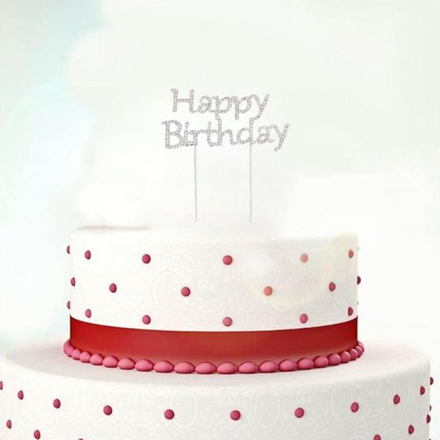 1pc Cake Topper With Rhinestone Happy Birthday Letters Design Topper