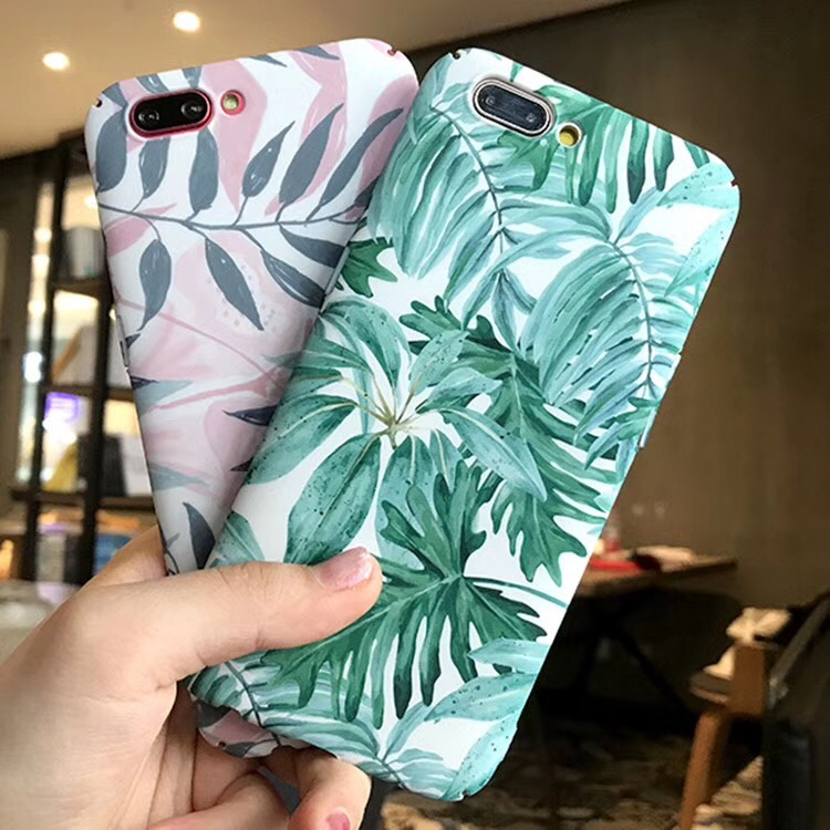 For OPPO A73 Tropical Forests Leaves Cover For OPPO A83 Green Vintage Plants Leaf For OPPO A1 F1S F5 A79 A59 A57