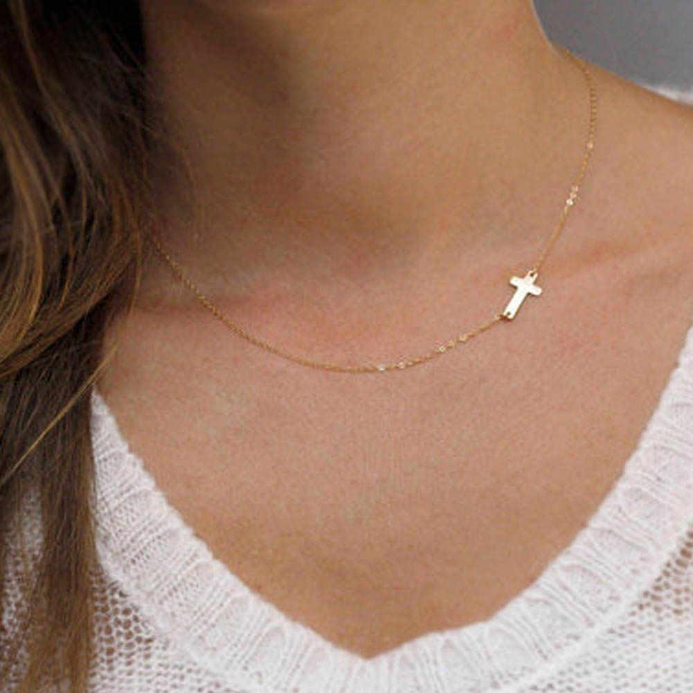 シンプルなエレガントなクロスチョーカーネックレスシルバーゴールドカラー鎖骨チェーンステートメントネックレス女性ジュエリー