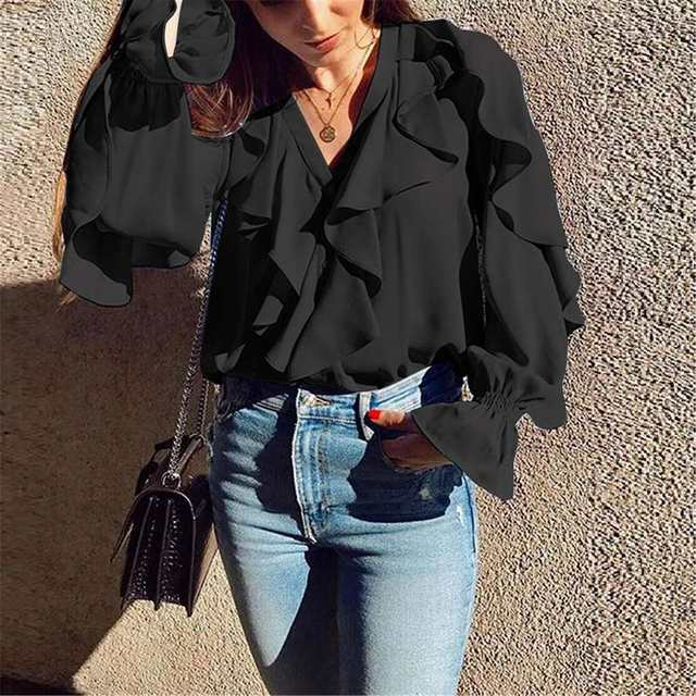 Celmia Stylish Tops Summer Ruffled Blouse Women Sexy V neck Long Sleeve Shirts Female Casual Buttons Street Blusas Plus Size 5XL 19