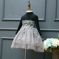 2017 Brand Girls Dress New Embroidered Flower Lace Girl Dresses Black Grey Long Cotton Sleeves Mini