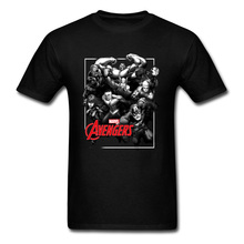 лучшая цена Cool Men's Tshirt Mighty Marvel T Shirts Avengers Hero Group T-Shirt Infinity War Justice League Universe Tee Shirt For Guys