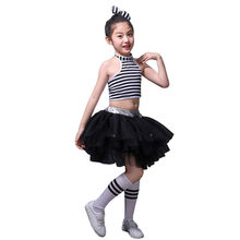 Girls High Collar Black White Stripe Jazz Dance Costume Kids Hip Hop Sequin Tutu Skirt Modern Dance Cheerleading Costumes(China)