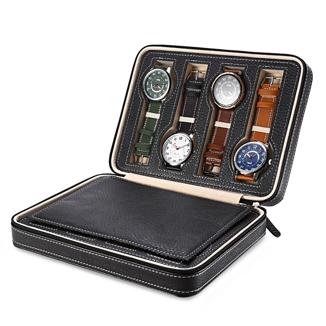 Eight Grids Watch Cases with Zipper