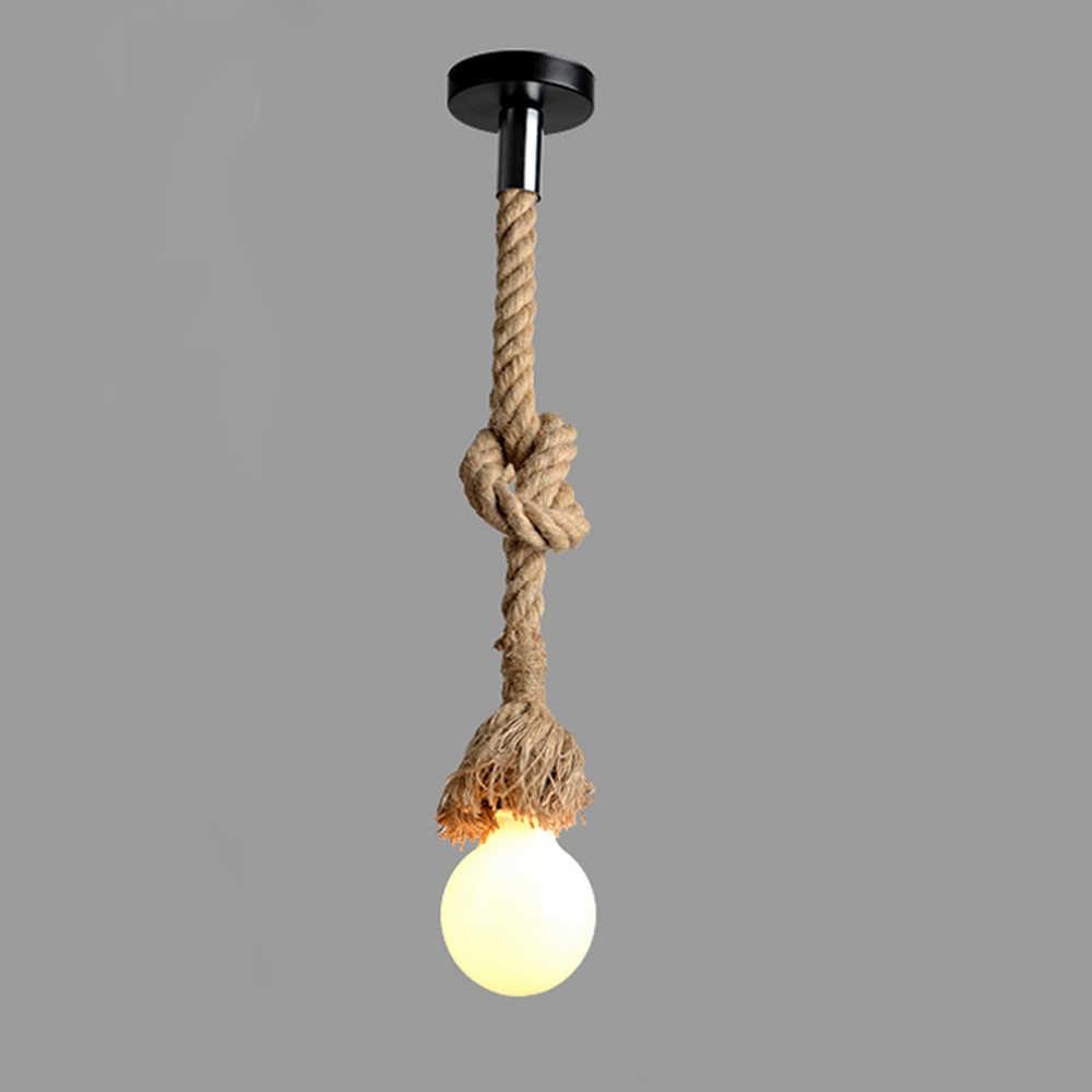 Lixada AC220V E27 одна осветительная головка, винтажная пеньковая веревка подвесной светильник лампы столовой ресторана, ручной стержень, для кафе, для освещения Применение