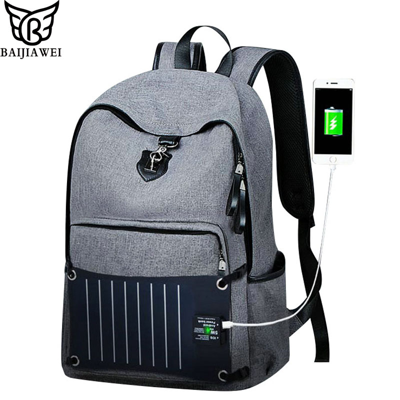 BAIJIAWEI New Technology Solar Power Charger Backpack For Men Anti-theft Oxford Waterproof Backpacks 15 Inch Laptop Bag baijiawei men and women laptop backpack mochila masculina 15 inch backpacks luggage