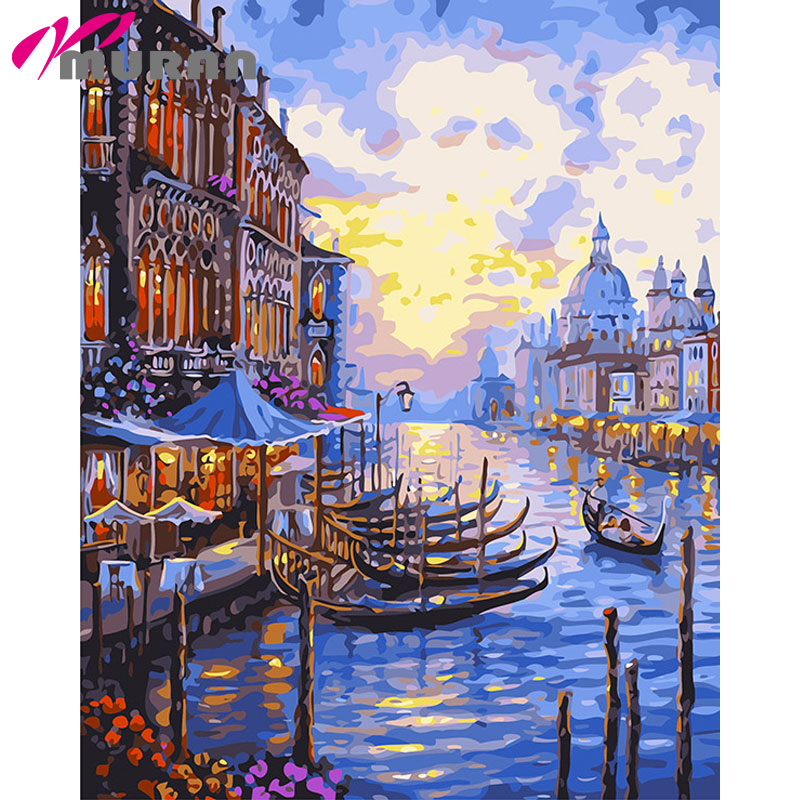 MURAN Diy digital oil painting by numbers paint drawing coloring by number canvas hand painted modular picture wall decor Venice