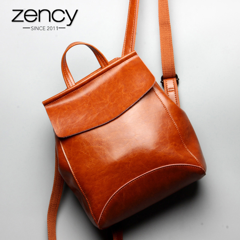 Zency 100% Real Leather Women Backpack Fashion Brown Daily Casual Knapsack Preppy Style Notebook Schoolbag For Girl Travel Bag fashion 100% real genuine leather casual women s backpacks female casual knapsack laptop bag ladies pocket girl schoolbag hp47