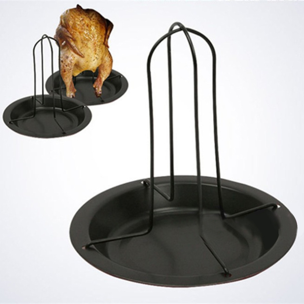 1Pc Carbon Steel Upright Chicken Roaster Rack With Bowl Tin Non-stick Cooking Tools Baking Pan Barbecue Grilling BBQ Accessories