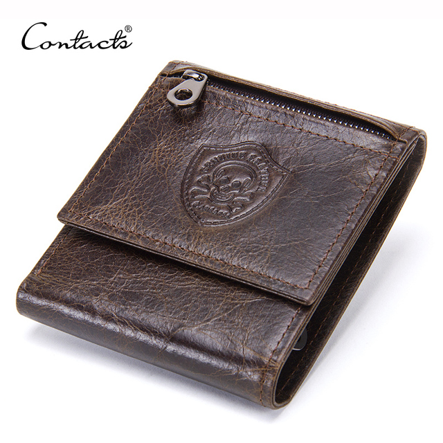 CONTACT'S Genuine Leather Men Wallets Fashion Trifold Purse For Male New Coin Pocket Purses Card Holders Wallet High Quality