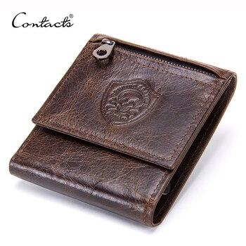 CONTACT'S en cuir véritable hommes portefeuilles mode triple sac à main pour homme nouveau Coin poche sacs à main porte-cartes portefeuille de haute qualité
