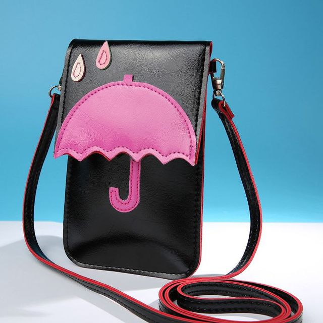 d068150a5553 Women Girl s Leather Mini Crossbody Bag Kitty Wallet Purse Cellphone Pouch  Umbrella Style With Shoulder Strap For Smartphone