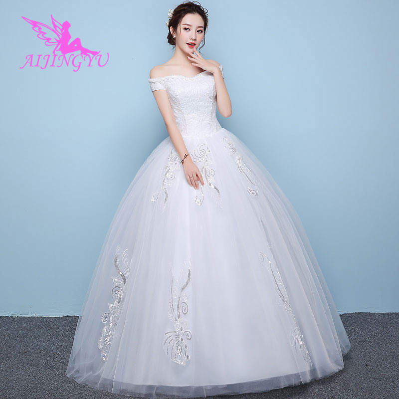 AIJINGYU 2018 floor length free shipping new hot selling cheap ball gown lace up back formal bride dresses wedding dress WK506