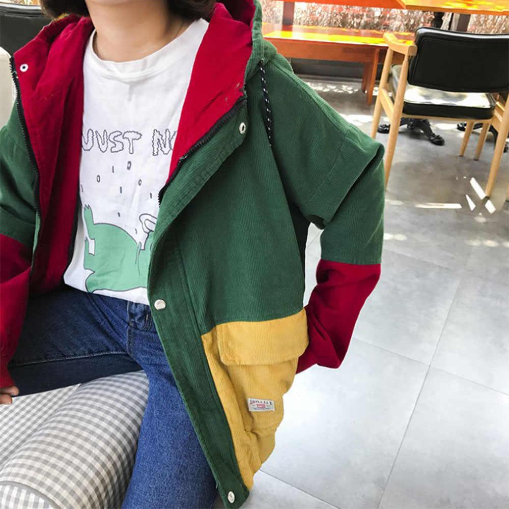 المتناثرة الكورية البريدي سترة هوديي اللون بلوك كودري الجيب K-البوب سترة الشتاء/الخريف 3XL المرأة الستر معطف