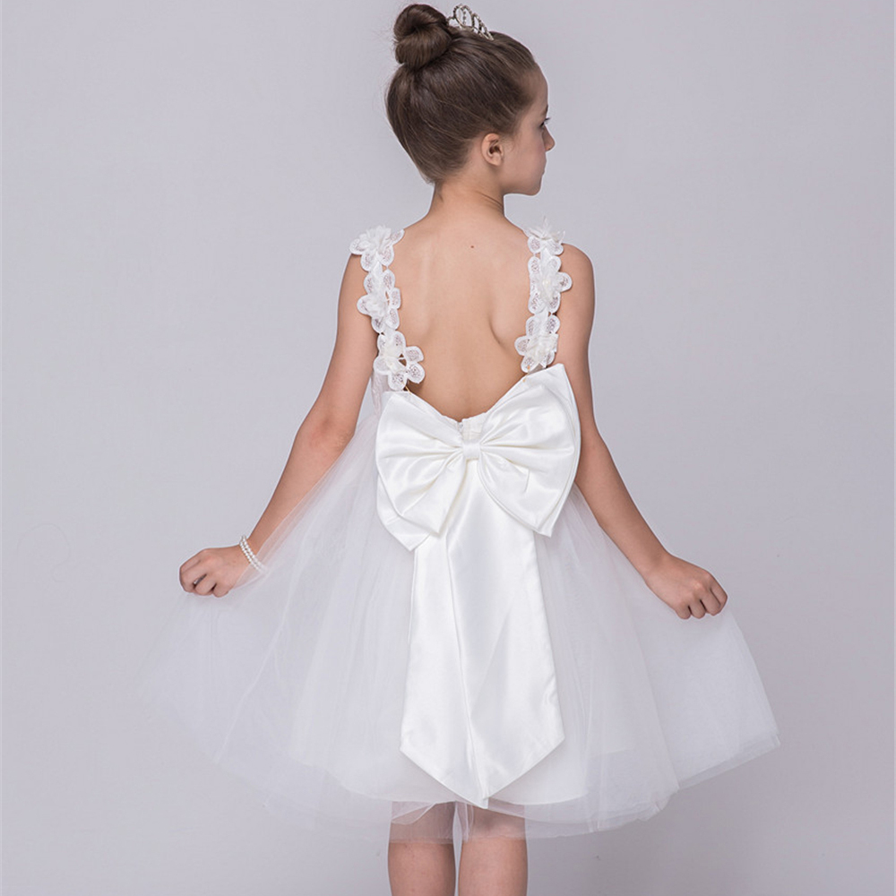Подробнее о Teenage Girls Dresses for Wedding Party Wear White Child Kids Party Evening Dress Girl Princess Costume Big Bow Lace Prom Dress teenage girls dresses summer england style lace flower princess dress for girl wedding party prom costume kids clothes floral