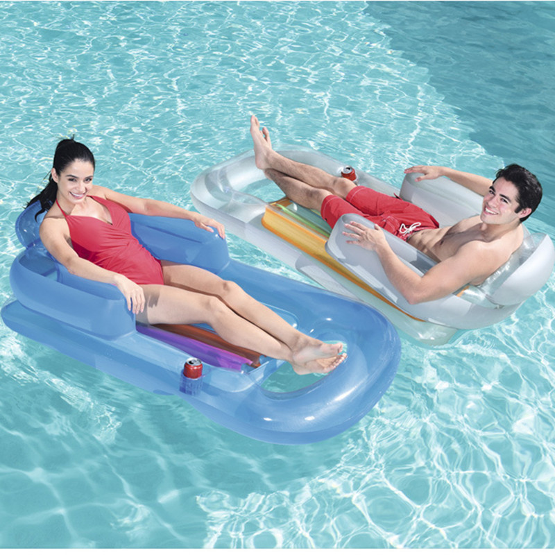 US $19.09 18% OFF|Summer Swimming Inflatable Floating Bed Pool Loungers Water Floating Row Backrest Recliner with Armrest Cup Holder for Adult|Beach