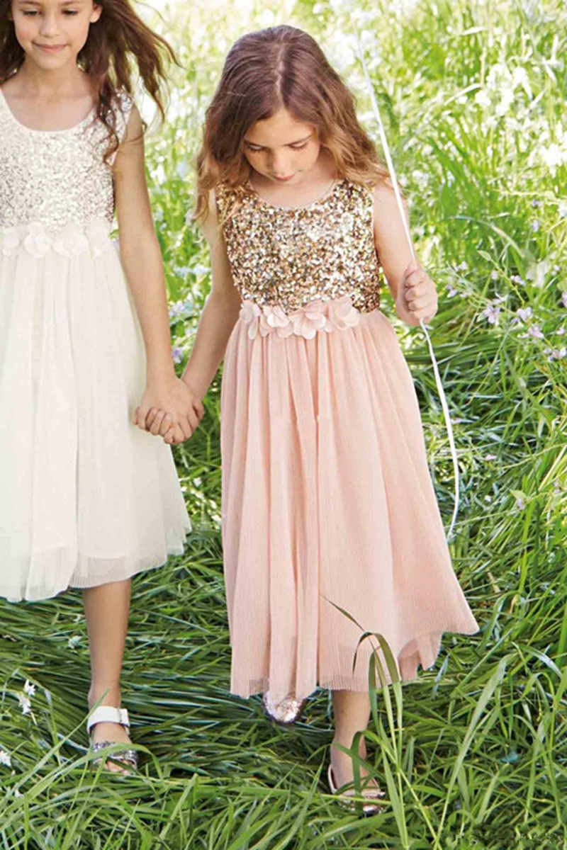 2016 Pink Flower Girls Dresses For Weddings Gold Sequins Hand Made