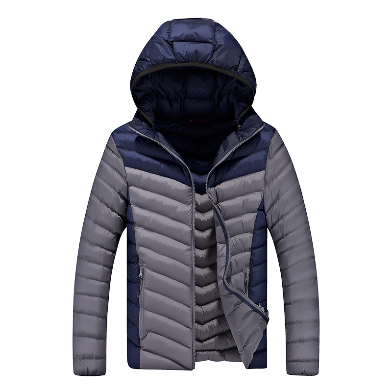 2016 Men's new Winter warm casual hit color hooded cotton thickening Korean simple trend comfortable self-cultivation coat