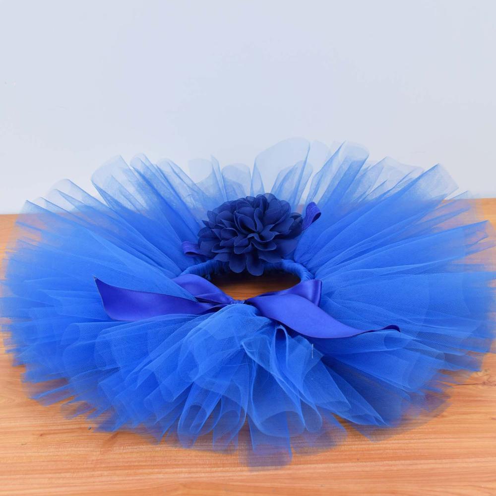 Royal Blue Baby Girls Fluffy Tutu Skirt & Headband Set Newborn Photo Prop Costume Infant Birthday Tulle Tutus Outfit  For 0-12M