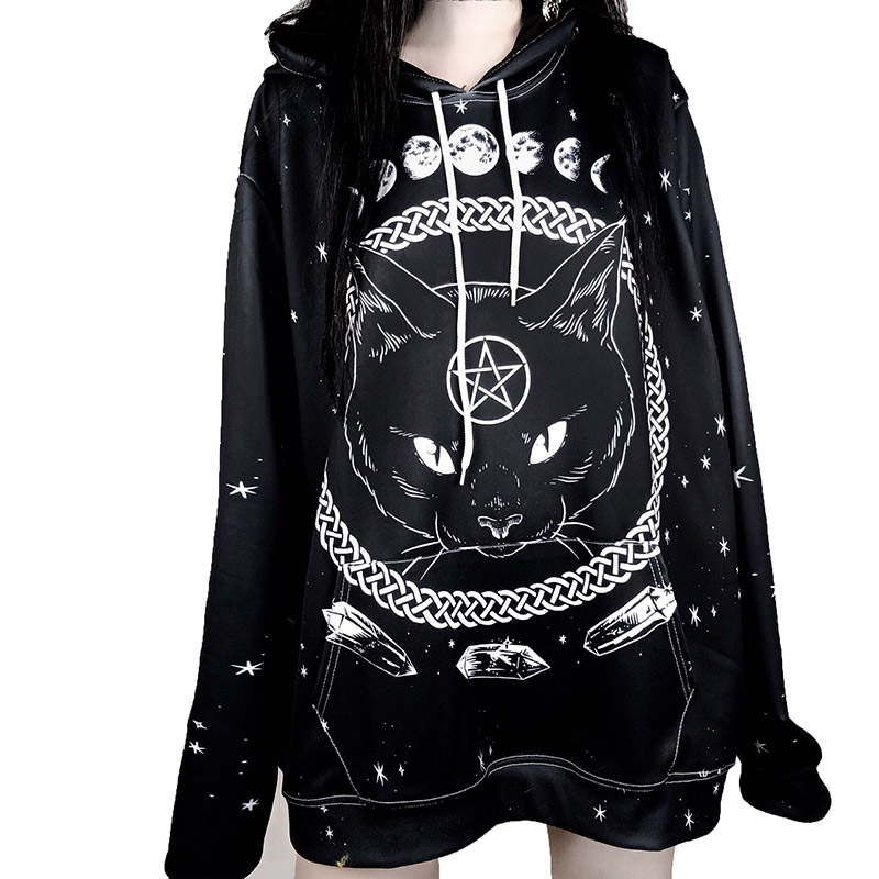 e4effc06cbe Punk Harajuku Unisex Hoodies Gothic Moon Phase Starry Pattern Witchcraft  Cat Printed Women Loose Sweatshirts Plus