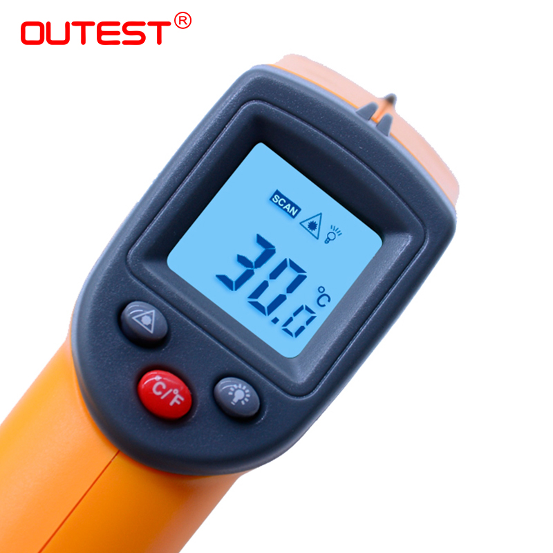 OUTEST Non Contact Digital Laser Infrared Thermometer -50~360C (-58~680F) Themperature Pyrometer IR Laser Point Gun GS320 gm500 700 900 non contact digital laser infrared thermometer themperature pyrometer ir laser point gun ems 0 1 1 0
