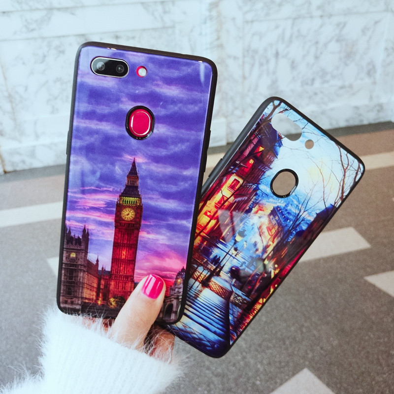 Tempered glass Case for OPPO R15 Standard Version R 15 Landscape Back Cover Hard Case for OPPO R15 Dream Soft TPU Bumper Case