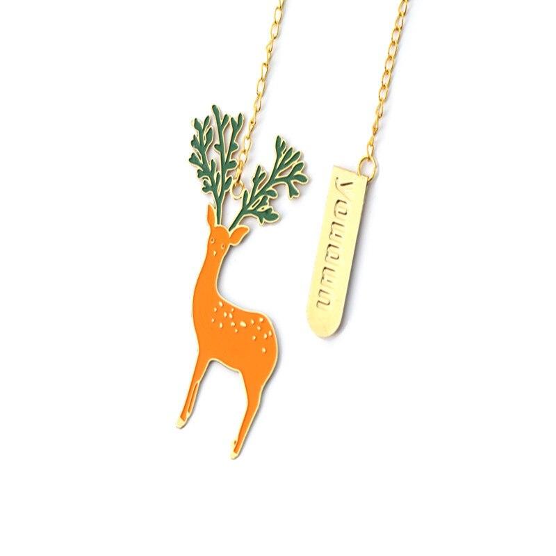 Image 5 - 30pcs/lot Kawaii Creative Fashion Metal Longhorn Deer Pendant Bookmark School Learning Office Supplies Children's Birthday Gift-in Bookmark from Office & School Supplies