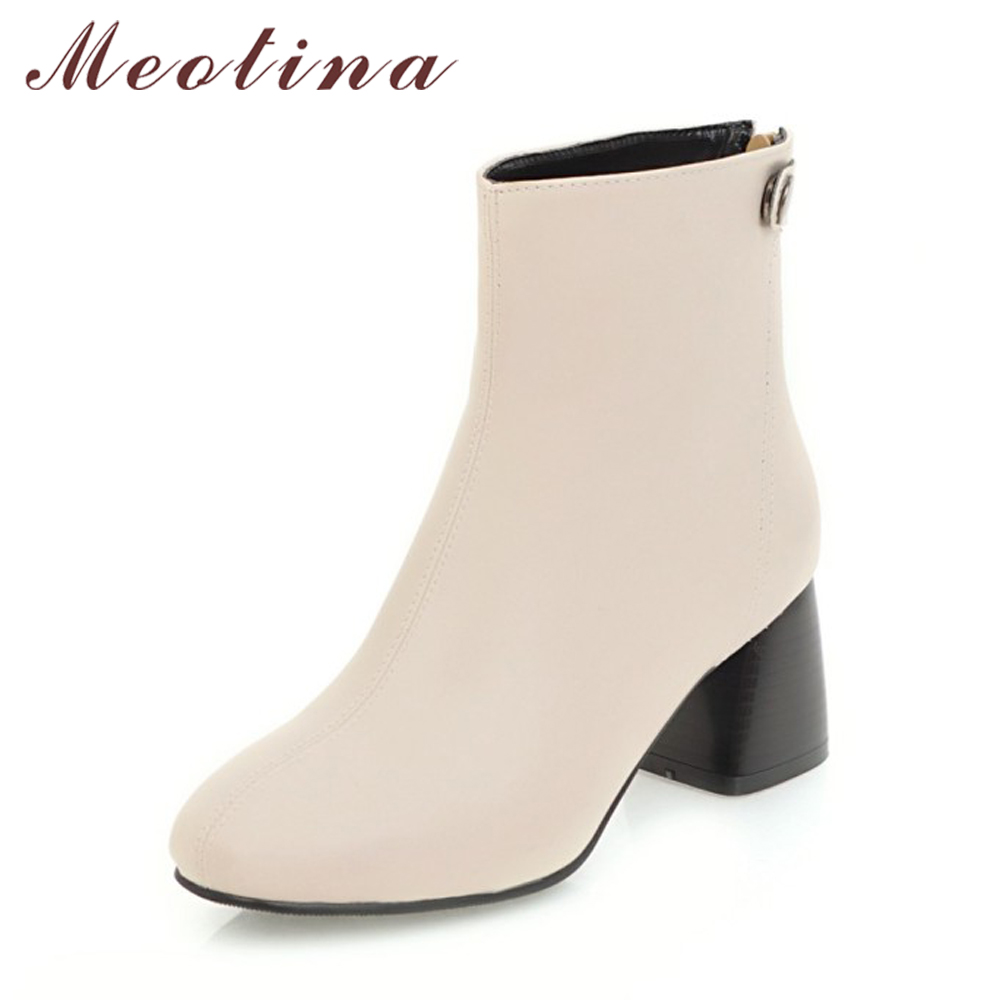 Meotina Women Ankle Boots High Heels Boots Zip Buckle Chelsea Boots Autumn Shoes Women Large Size 34-43 Ladies Winter Shoes Red brand new hot sales women nude ankle boots red black buckle ladies riding spike shoes high heels emb08 plus big size 32 45 11