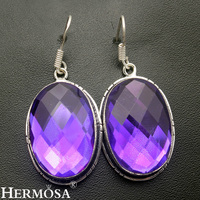 Faceted Oval Purple Fire Jewelry Retro Charms 925 Sterling Silver Earrings Shiny Women Party Fashion NY556