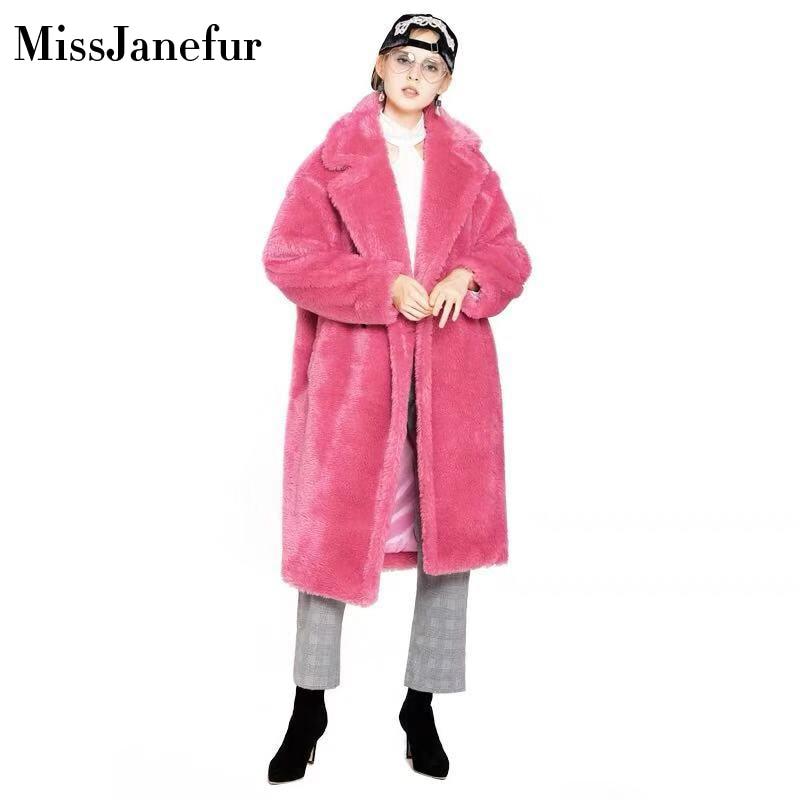 Элегантный Настоящее Шуба Для женщин 2019 осень зима толстые теплые мягкие флисовая куртка карман кнопка верхняя одежда пальто медведь Тедди