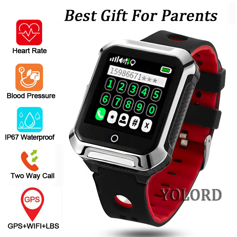 Elderly Older Old Man GPS+LBS+WIFI Positioning Blood Pressure Heart Rate Tracker IP67 Swimming SOS Call Smart Watch Smartwatch-in Smart Watches from Consumer Electronics