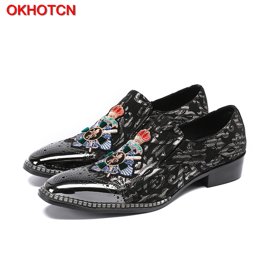 OKHOTCN New Arrival Embroidered Floral Men Shoes Fashion Metal Toe Flats Casual Shoes Men Luxury Side Rivet Slip On Loafer Shoes
