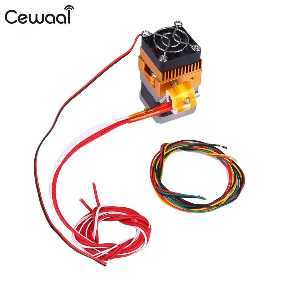 CEWAAL New Upgrade MK8 Extruder 0.4mm Single Nozzle 1.75mm Print Head For 3D Printer Prusa 12V Extra Nozzle +1 meter motor cable 3d printers parts mk8 extruder head j head hotend 0 4mm nozzle kit 1 75mm filament extrusion mk8 extruder kit