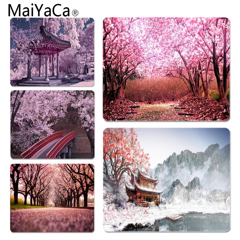 MaiYaCa New Designs Japanese Cherry Blossom Office Mice Gamer Soft Mouse Pad Size For 18x22cm 25x29cm Small Mousepad