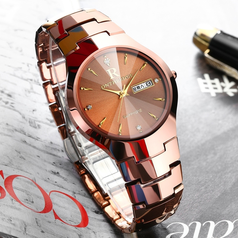 ONTHEEDGE Japanese Quartz Wristwatch with Stainless Steel Case Classic Calendar Date Window Fashion Classic Unisex Watch unisex quartz wrist watch accurate timing with calendar